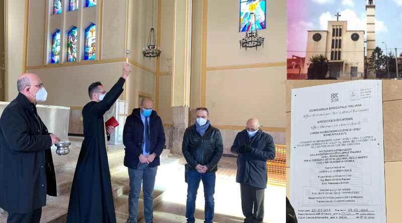 Lavori post-sisma nella chiesa Sacro Cuore di Biancavilla con fondi dell'8×1000 e della Diocesi